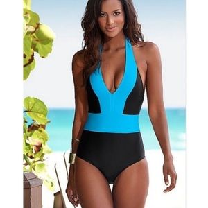 NWT Junior Fit V Front One Piece Swimsuit